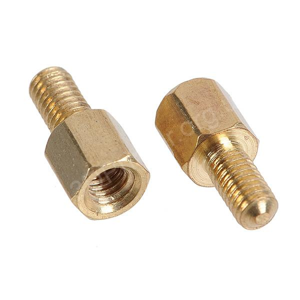 Brass-Hex-Stand-Off-Pillars-Male-to-Female-5-6mm-M3-100-Pack