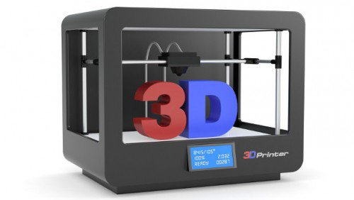 closeup of a black 3d printer (render)